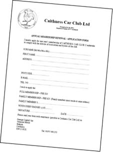 Caithness Car Club Membership Form